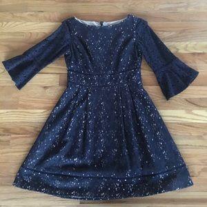 Eliza J Lace Dress Navy Flutter Sleeves 4
